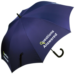 MetroWalking Promotional Umbrella,features automatic opening black 70cms fibreglass ribs with 12mm black fibreglass pole and premium weight polyester canopy. MOQ 25 Corporate Walking Crook Handle Umbrellas.