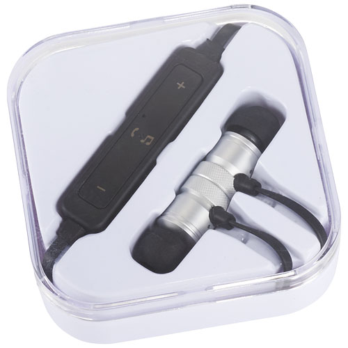 Wireless earbuds in case - mck promotions silver black
