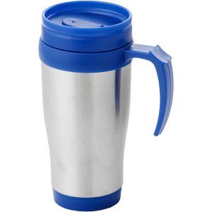 anibel insulated mug Double wall mug with twist on thumb slide lid. Volume capacity is 330 ml. Stainless steel exterior, plastic interior. BPA free