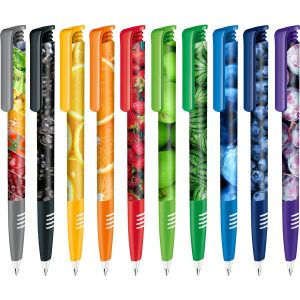 Senator Super Hit Polished Plastic Ballpen with Soft Grip & Xtreme Branding Ballpen with white barrel and coloured soft grip and clip. Fitted with large capacity Magic Flow refill. Available with photo-quality digital wrap to the barrel.