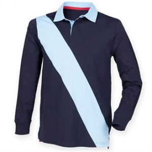 Diagonal stripe rugby shirt - tag free (navy))- mck promotions