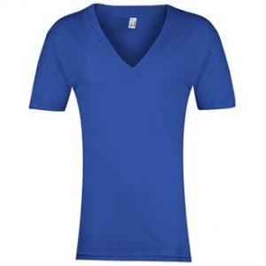 Sheer jersey short sleeve deep v-neck (blue)- mck promotions