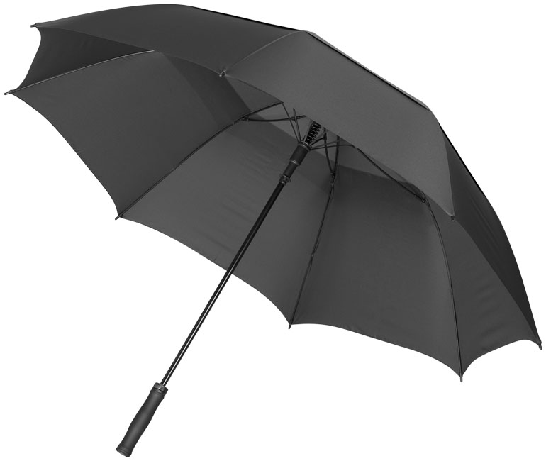 30inch Auto open vented umbrella, solid black- MCK Promotions