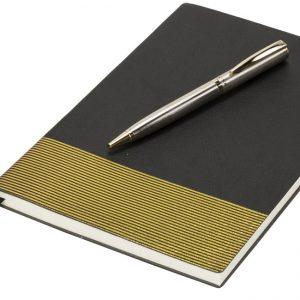 Midas Notebook & Pen Gift Set, solid black- MCK Promotions