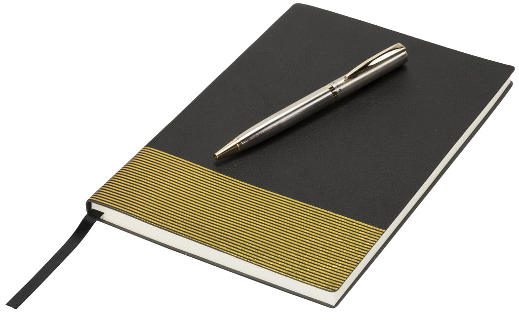 Midas Notebook & Pen Gift Set, solid black- MCK Promotions
