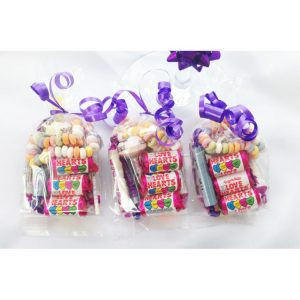 Retro / Sweet Bags Mesh or Transparent bags filled with Retro Sweets Chocolate foil coins Printed tag on outside & closed with ribbon. *You select the contents to work on your budget
