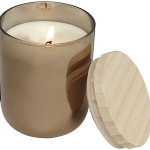 Lani candle with wooden lid, copper- MCK Promotions