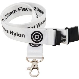 15mm flat weave nylon lanyard (white)- mck promotions