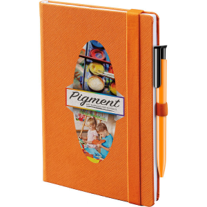 denim colour notebook (orange)- mck promotions