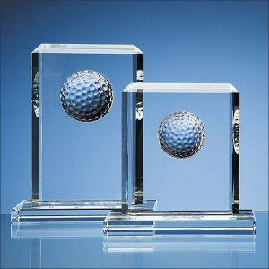 15cm Optical crystal golf ball rectangle award- mck promotions