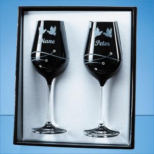 2 Onyx black diamante wine glasses- mck promotions
