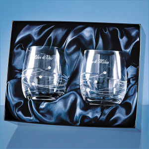 2 diamante whisky tumblers- mck promotions