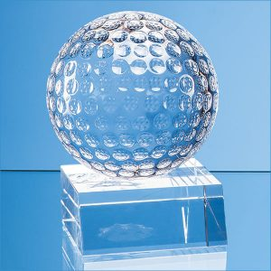 4.5 optical crystal golf ball mounted on a clear crystal base- mck promotions