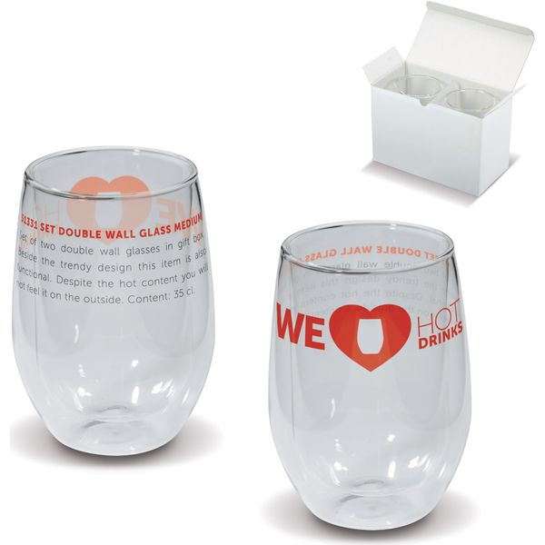 Med size double wall glass set- mck promotions