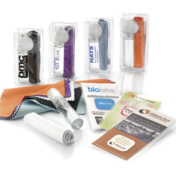 black glasses and screen cleaning kit- mck promotions