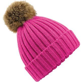 BC412 Fur pom pom chunky beanie (pink)- mck promotions