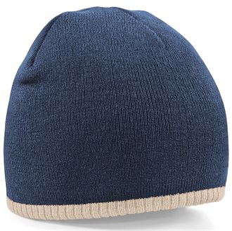 BC44C Two-tone pull on beanie - Navy - mck promotions