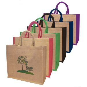 Large natural jute shopping bags- mck promotions