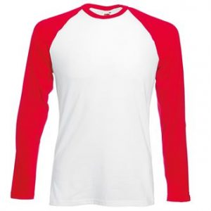 Long sleeve baseball tee (red)- mck promotions