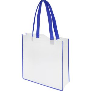 Non woven convention tote bag(white, blue trim)- mck promotions