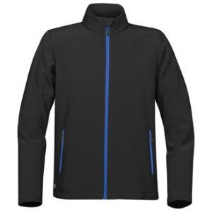 Orbiter softshell (black, blue zip)- mck promotions