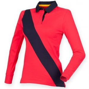 Women's diagonal stripe rugby - tag free - MCK PROMOTIONS