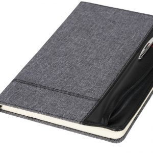 Heathered A5 notebook with leatherlook side, solid black- MCK Promotions