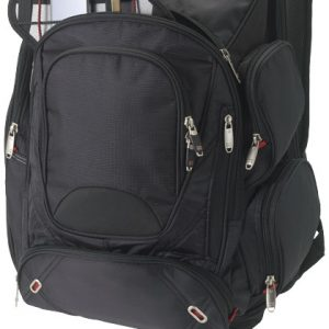 Proton airport security friendly 17inch backpack, solid black- MCK Promotions