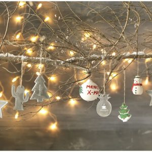 Seasonal christmas tree ornament, grey (decorations)- MCK PROMOTIONS
