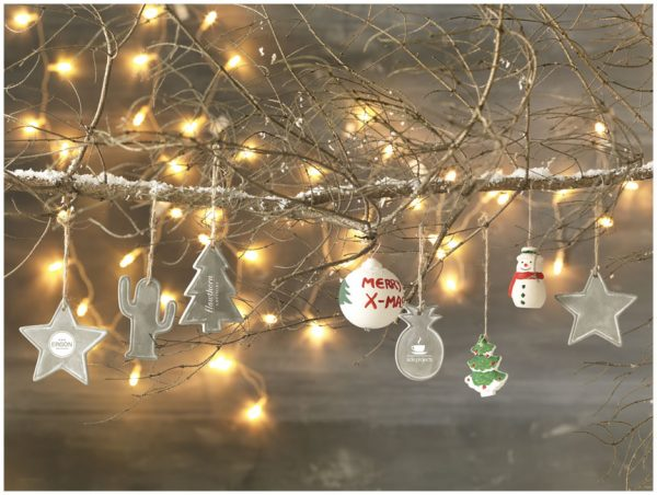 Seasonal christmas tree ornament, grey (decorations)- MCK PROMOTIONS