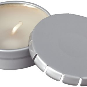 Bova scented canlde in tin, silver - MCK Promotions