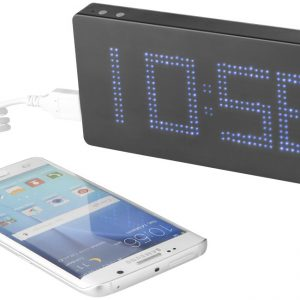 Clok 8000 mAh LED time display power bank, solid black grey- MCK Promotions