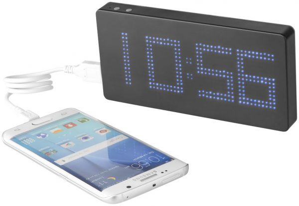 Clok 8000 mAh LED time display power bank, solid black grey- MCK Promotions