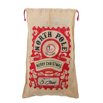 Large Christmas jute bag (space for personalisation) - MCK Promotions