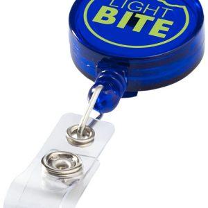 Lech roller clip keychain, transparent blue- MCK Promotions
