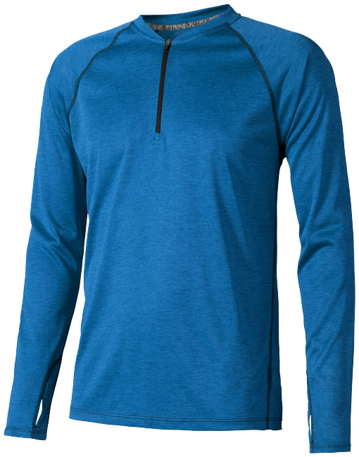 Quadra long sleeve cool fit men's t-shirt, heather blue- MCK Promotions