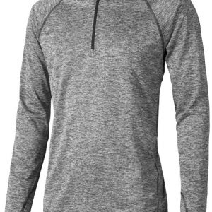 Quadra long sleeve cool fit men's t-shirt, heather charcoal- MCK Promotions