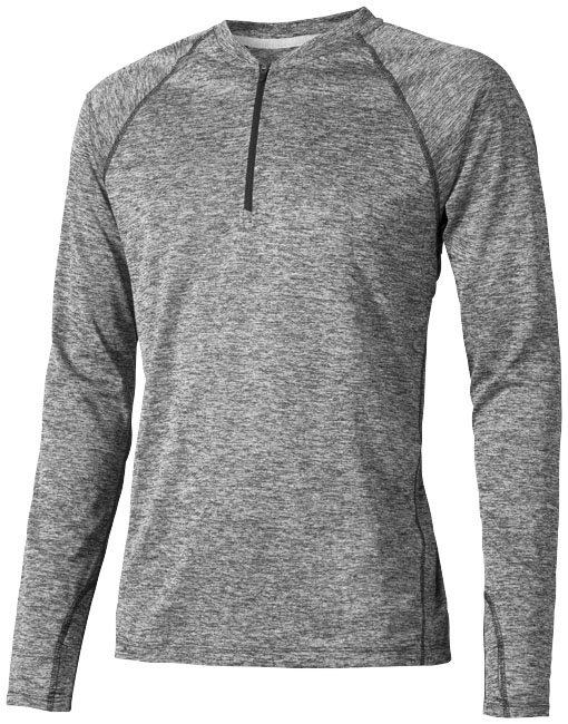 Quadra long sleeve cool fit men's t-shirt, heather charcoal- MCK Promotions