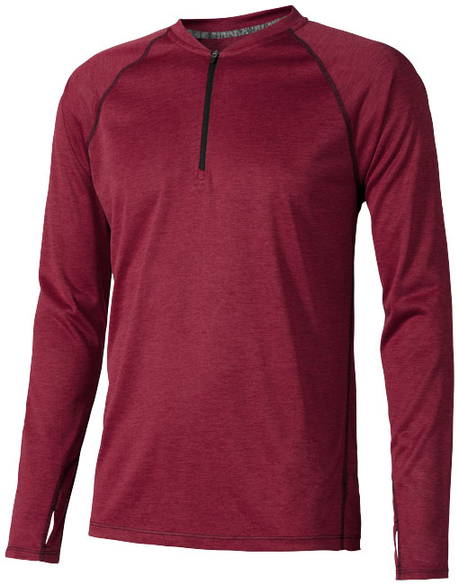 Quadra long sleeve cool fit men's t-shirt, heather red- MCK Promotions