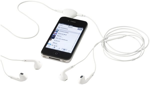 Spartacus 2-in-1 audio splitter and device stand, white-(with earphones) MCK Promotions