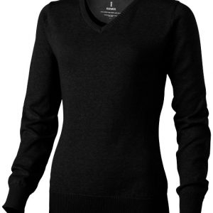 Spruce ladies V-neck pullover, solid black- MCK Promotions