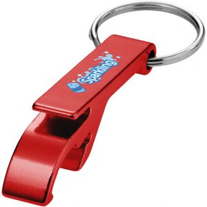 Tao bottle and can operner keychain, red