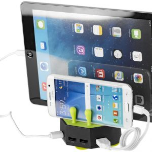 Turf charging station with 4 USB ports, solid black lime - MCK Promotions
