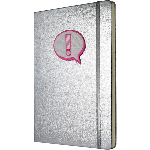 Crushed Foil Patch Notebook - Silver- MCK Promotions