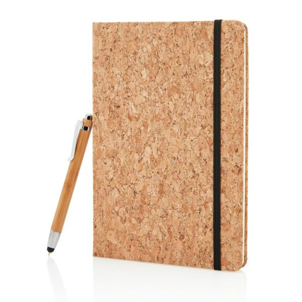 A5 notebook with bamboo pen including stylus- MCK Promotions