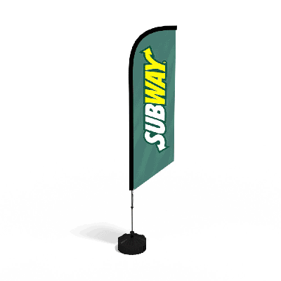 FEATHER FLAG KIT SINGLE SIDED Available in 2.8m, 3.4m, 4.5m, 5.6m. Includes: Full Colour Digital Printed Flag Banner, Fibreglass Poles, Carry Bag & Simple Ground Spike. Additional Bases Available. Uses Include: Outdoor Events, Shop Branding, Fetes, Indoor Events, Council Events, Sports. Minimum Quantity: 1.
