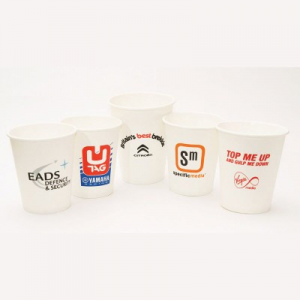 No matter what you need printed paper cups for whether it be cold drinks or hot drinks, We supply a range of branded and bespoke printed single and double wall cups in 4oz, 8oz, 10oz, 12oz, 16oz & 20oz and are available with sip lids and printed cup sleeves All our disposable paper cups are biodegradable, compostable or recyclable helping you do your part for the environment. No Minimum Order Branded with your company logo Custom printed in up to 6 spot colours Fully Recyclable Single and double wall branded paper cups available