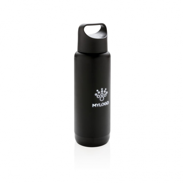 Double wall flask. 304 SS inside and ABS plastic outside. Engrave your logo and it will be lit up when the flask is picked up. Including 2 CR2032 cell battery Content: 500 ml.