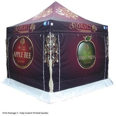 INSTANT POP UP GAZEBO Fully Custom Printed Gazebo, Ideal for Any Outdoor or Indoor Event. Unlimited Print in Any Colour. All Aspects of Gazebo Can be Printed, Inside & Out, Including Roof Canopy. Minimum Quantity: 1.