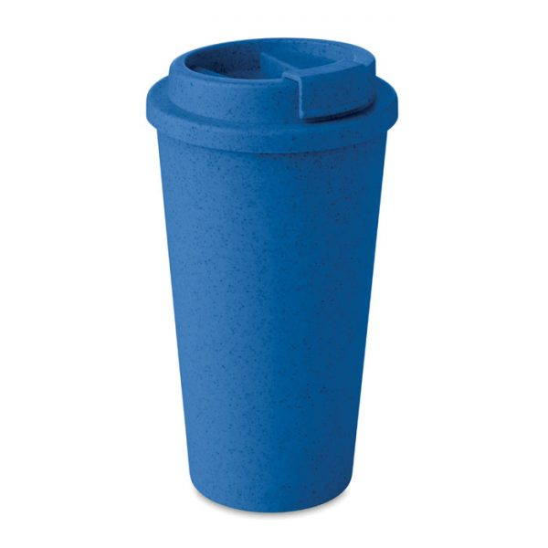 Blue Natural Double Walled Bamboo Cup_MCK Promotions